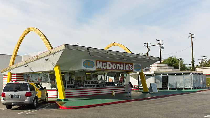 An old McDonald's location with golden arches